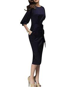 SaiDeng Donna Manica Corta Vestito Abiti Retro Fascino Elegante Sottile  Ginocchio Gonna Blu Marino S c286a447801