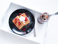 Breakfast. Waffle with currant and marmalade