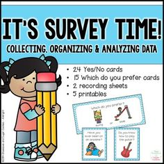 Your students will have fun collecting, organizing and analyzing data with these activities and printables!  Included in this packet you will find:YES/NO SURVEYS- 24 color cards- recording sheet (tally chart, vertical bar graph and space for students to write sentences about data)WHICH DO YOU PREFER?