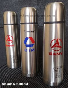 Shuma brand water flask 500ml capacity print double-sided three-color logo ordered by PT. Konstruksi Indo Machinery (KIM), Jakarta, Indonesia. A heavy equipment company and the sole agent for the brand Sany Truck. http://www.tegarwares.com/2015/01/distributor-termos-stainless-steel.html