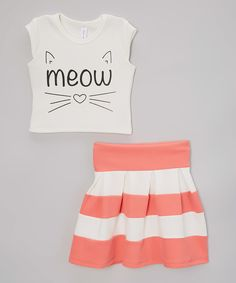 This American Kids Off-White 'Meow' Crop Top & Coral Stripe Skirt - Toddler & Girls by American Kids is perfect! #zulilyfinds