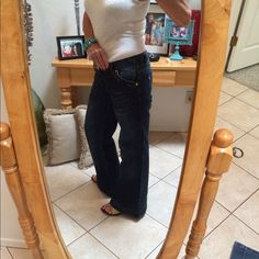"""Dolce and Gabbana jeans These Dolce and Gabbana jeans are amazing...the fit is so flattering and the detail is perfection  ... You can always tell when you're wearing their jeans;) they make you look the best ever!!! Rise 8"""", length 28 1/2"""" Dolce & Gabbana Jeans Boot Cut"""
