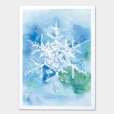 Inspired by an old photograph by Wilson Bentley, here is my white and blue snowflake painting over a blue and teal background. (Set of 10) Do a search for Wilso