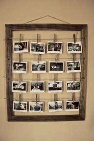 Cute way to hang pictures with old frame.