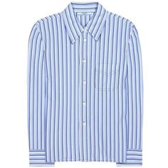 Prada Cotton Shirt ($930) ❤ liked on Polyvore featuring tops, blue, long-sleeved, stripe top, stripe shirt, prada top, shirt top and striped cotton shirt