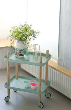 mint green and a darling cart.