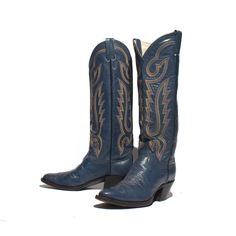 8.5 | Women's Larry Mahan Tall Cowboy Boots in Cobalt Blue with Rainbow Western Stitch