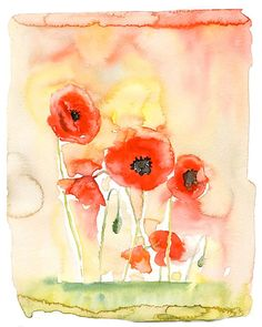 Poppies Print from my original watercolor painting 8x10 от Ireart