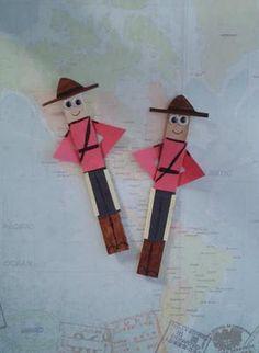 Canada Day  Kids Crafts = Craft Stick Mounties Craft Stick Projects, Craft Stick Crafts, Art Projects, Craft Ideas, Daycare Crafts, Kids Crafts, Around The World Crafts For Kids, Canada Day Crafts, Family Theme