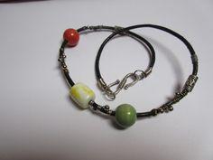 Ceramic bead bracelet / Black leather bracelet / Boho bracelet / Bohemian…