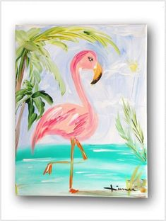 Flamingo Painting for kids Summer Painting, Painting For Kids, Painting & Drawing, Painting Canvas, Diy Painting, Canvas Paintings For Kids, Creative Painting Ideas, Kids Canvas Art, Painting Walls