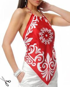 Spectacular summer sundresses and tops from scarves!, Spectacular summer sundresses and tops from scarves! Look Fashion, Diy Fashion, Ideias Fashion, Fashion Outfits, Womens Fashion, Scarf Top, Scarf Dress, Sewing Clothes, Diy Clothes