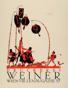 Weiner Printing, Wien VIII (1931)    Artist : Julius Klinger.  This is an original 1931 two-color lithograph mini poster of a 1918 advertising poster.