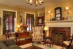 Graves' Suite Living Room: You'll find board games in the closet, volumes of reading material on the bench, and lovely antique clocks decorating the walls. A flat-screen television for watching movies or choose to warm your toes before the cheery, brick gas fireplace.