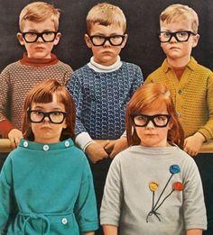 Retro kids in glasses