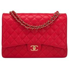 Preowned Chanel Red Quilted Lambskin Maxi Classic Double Flap Bag 7 870 Liked On