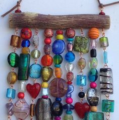 Glass Beaded Garden Art on Mesquite by LTreatDesigns on Etsy