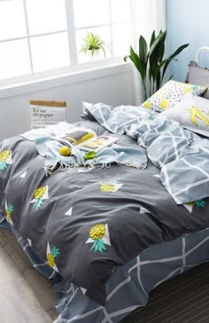 bright yellow pineapple print 4 piece coral fleece duvet cover sets