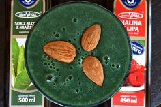 Zielone koktajle: ogórek + banan + sok z malin z lipą + sok z aloesu z miąższem + spirulina