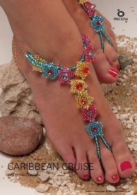 Gorgeous Beaded Sandals Tutorial for Your Cruise Vacation or just use the flower components for other pieces The Beading Gems Journal Seed Bead Tutorials Crochet Sandals, Beaded Sandals, Beaded Anklets, Boho Sandals, Jewelry Making Tutorials, Beading Tutorials, Ballerinas, Barefoot Sandals Tutorial, Beaded Jewelry Patterns