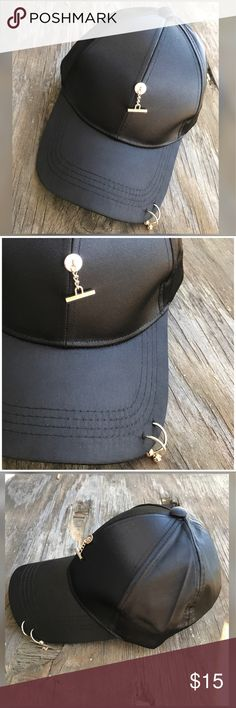 🆕Fashion solid Piercing Ring baseball cap Fashion piercing ping baseball cap.  Cool pin curved satin hat and snapback.  🔺Firm price🔺 Accessories Hats