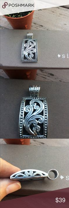 Silpada sterling silver pendant Beautiful scroll detail pendant.  Detail goes onto side as well.  About 1 1/2 in long Silpada Jewelry Necklaces