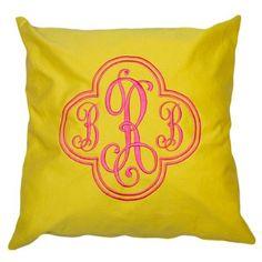 Yellow Cotton Monogrammed Throw Pillow