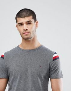 Find the best selection of Tommy Hilfiger Donny Icon Shoulder Insert T-Shirt in Dark Gray Marl. Shop today with free delivery and returns (Ts&Cs apply) with ASOS! Mens Polo T Shirts, Tee Shirts, Tommy Hilfiger, Winter T Shirts, Clothing Photography, Camisa Polo, Tee Shirt Designs, Mens Tops, Asos