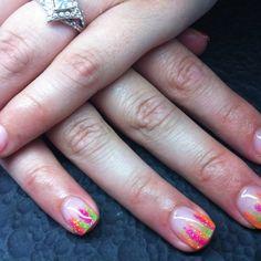 Neon stripe gel nails