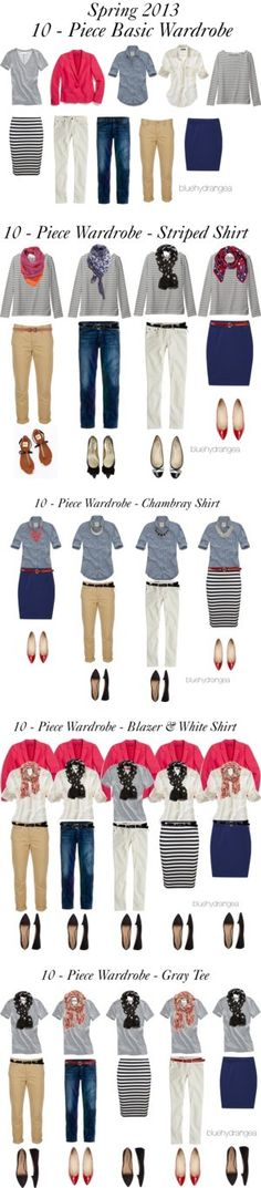 Spring 2013 Ten - Piece Basic Wardrobe by bluehydrangea on Polyvore featuring Hollister Co., Madewell, J.Crew, Skaist Taylor, Polo Ralph Lauren, Uniqlo, Ann Taylor, French Sole, Lauren Ralph Lauren and Forever 21