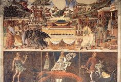 The Triumph of Mercury and Cancer the Crayfish with its Decans. From June, Salone dei Mesi, Palazzo Schifanoia. Palazzo, Italian Renaissance, Renaissance Art, Winged Serpent, Roman Gods, Isis Goddess, Web Gallery, Renaissance Paintings, European Paintings