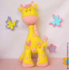 Жирафик игрушка из фетра - жёлтый,жираф,жирафик,игрушка из фетра,игрушка для детей