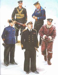 ARMATA ROSSA - 1- Teniente Capitán con uniforme ocasional. 1941-42.  2-Infante de Marina equipado con uniforme reglamentario y fusil automático Simonov AVS - 36 (1941-42).  3-Marina de la Guardia Roja. Artillero, de la flota del Mar Negro, con uniforme completo (1945).  4-Oficial de las fuerzas aéreas de la Marina de vuelo en marcha.  5- Comandante del Escuadrón del Báltico Vice Almirante L. A. Vladimirskiy con uniforme completo (1945).
