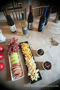 Wine and cheese party-write on paper table cover is perfect