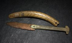 Northwest Coast / Tlingit copper knife w bone handle, and scrimshaw walrus tusk.