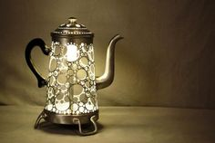 Baalbek Cafe/Teapot Lamp by Gilles Eichenbaum, a creative genius. Teapot Lamp, Lace Art, Cafetiere, Nightlights, Trash To Treasure, Great Coffee, Light Art, Cool Lighting, Light And Shadow