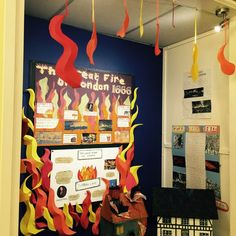 Great Fire of London 1666 with flames. Fire London, Great Fire Of London, The Great Fire, School Displays, Classroom Displays, Classroom Ideas, London House, London City, People Who Help Us