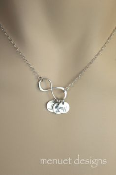 Monogrammed Silver Infinity Disc Necklace. Bridal by MenuetDesigns, $28.50