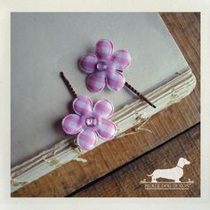 Pink Plaid Flower Hairpins Set of 2  Pink by PickleDogDesign, $5.50