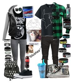 """""""Me and Baby❤❤"""" by hold-on-til-may ❤ liked on Polyvore featuring Converse, White Raven, Balmain, Uniqlo, Pink Box, Hot Topic, NOVICA, Disney and Manic Panic NYC"""