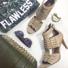 Light Taupe Cutout Sandals Size 8.5, distressed taupe leather, buckle closure, new in box. 06241511 Nine West Shoes Sandals