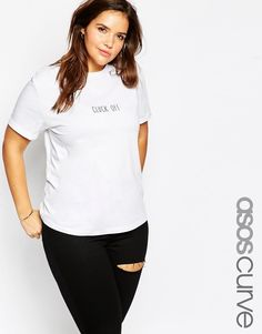 ASOS CURVE T-Shirt with Cluck Off Print
