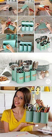 Reutilização de latas para construir porta talheres, podendo também ser utilizado como material de escritório para porta-canetas ou outros materiais :)
