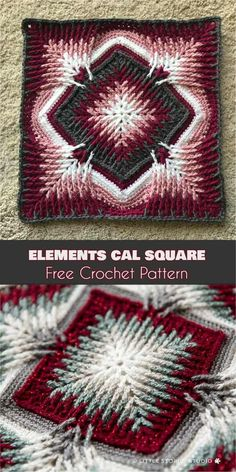 Elements Cal Square for Blankets, Pillows, Centrepieces [Part 1 - Free Crochet P. Elements Cal Square for Blankets, Pillows, Centrepieces [Part 1 – Free Crochet Pattern] – Crochet Pillow Pattern, Crochet Afghans, Crochet Patterns Amigurumi, Knitting Patterns, Crochet Dolls, Ravelry Crochet, Crochet Patterns For Blankets, Doll Patterns, Free Knitting