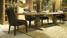 """Reclaimed Wood Turned Dining Table - Rectangular - Design #1 - Shown with Leather Side Chair Design #7 - Item #DT00418 - 60"""", 72"""", 84"""", 96"""", 108"""" & 120"""" Long Available - Can Be Expandable - Leather Chair Options"""