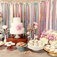 Absolutely loving this dessert table and ribbon backdrop. Image via @celebrationsathome #partyideas #party planner #partystyling #partyplanning #partystylist #eventdesign #eventplanner  #weddingideas  #weddingplanner #weddingphotography #diyparty #diywedding #beautiful #thepartyatelier  #wedding #weddingtable #partytable #gorgeous #spring #backdrop