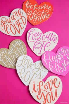 I have a bunch of new hand lettered heart cut files over on k. These layered paper hearts that I made from the files can be used as Valentine's Day cards or for lots of other paper crafts projects! Quotes Valentines Day, Valentines Day Hearts, Valentine Day Crafts, Valentines Lettering, Valentine Special, Be My Valentine, Valentine's Day Quotes, Heart Decorations, File Decoration Ideas