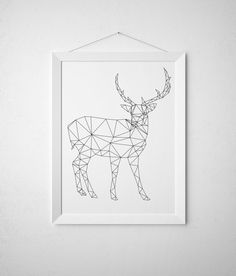Line art Triangle decor Geometric deer print Animal poster TO317