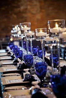 cobalt blue table setting - add another depth of color.  This is it! This is the color I will have at my wedding!