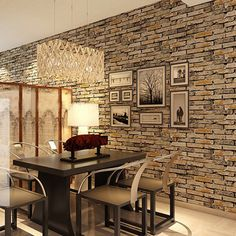 Madeira Pedra Wallpaper 3D PVC Papel parede de tijolo projeto clássico do vintage Fundo 10m Sala parede Home Decor Papel De Parede US $49.99